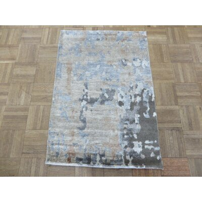 One-of-a-Kind Padang Sidempuan Modern Hand-Knotted Wool Gray Area Rug