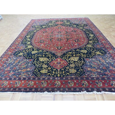 One-of-a-Kind Pellegrino Hand-Knotted Wool Salmon Navy Blue Area Rug Rug Size: Rectangle 810 x 122