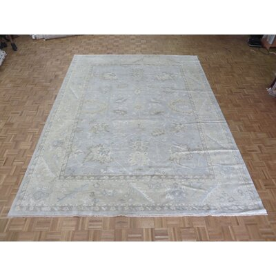 One-of-a-Kind Pellegrino Turkish Oushak Hand-Knotted Wool Sky Blue Area Rug