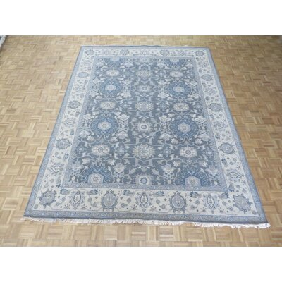 One-of-a-Kind Rhyne Antiqued Oushak Hand-Knotted Wool Gray Area Rug