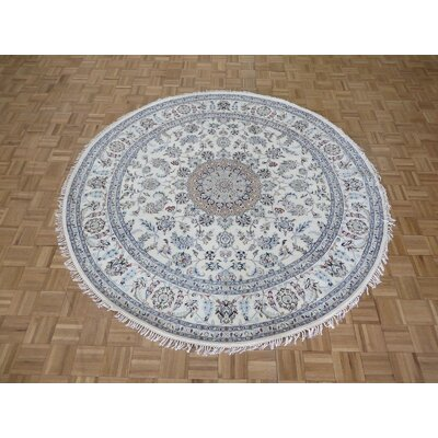 One-of-a-Kind Raley Hand-Knotted Wool Ivory/Blue Area Rug