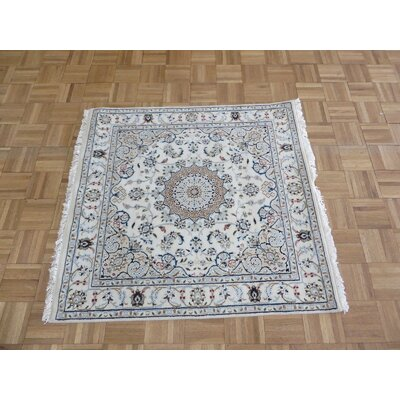 One-of-a-Kind Raley Hand-Knotted Wool Ivory Area Rug Rug Size: Square 37 x 39