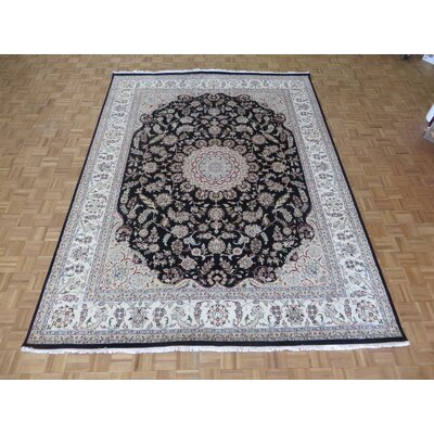 One-of-a-Kind Padro Nain Hand-Knotted Navy Blue Area Rug