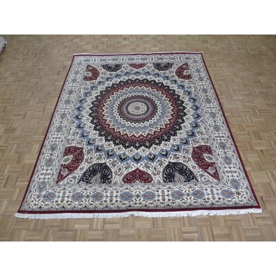 One-of-a-Kind Padro Gombad Hand-Knotted Ivory Area Rug Rug Size: Rectangle 9 x 12