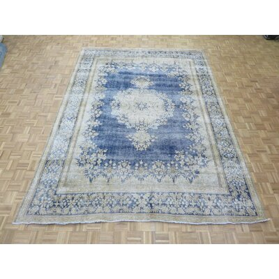 One-of-a-Kind Padro Kerman Hand-Knotted Wool Navy Blue Area Rug