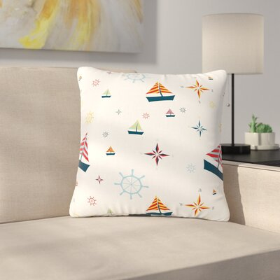 Stephanie Vaeth Sailing Coastal Pattern Outdoor Throw Pillow Size: 16 H x 16 W x 5 D