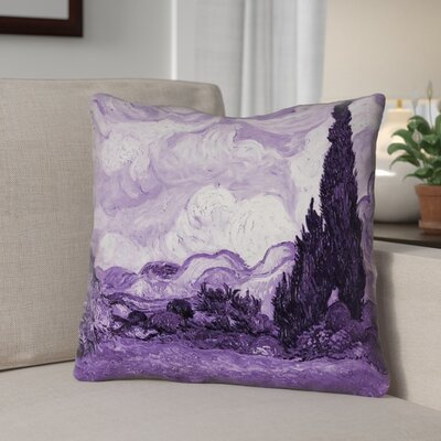 Lapine Wheatfield with Cypresses Suede Throw Pillow Color: Purple, Size: 16 x 16