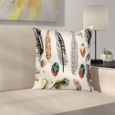 Boho Case Bird Feather Retro Vibrant Square Pillow Cover Size: 18 x 18
