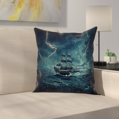 Sailing Ship in the Storm Pillow Cover Size: 24 x 24