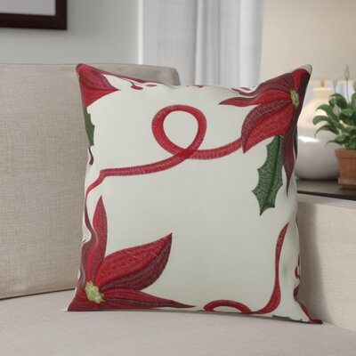 Bloomy Decorative Christmas Throw Pillow Cover Color: Ivory