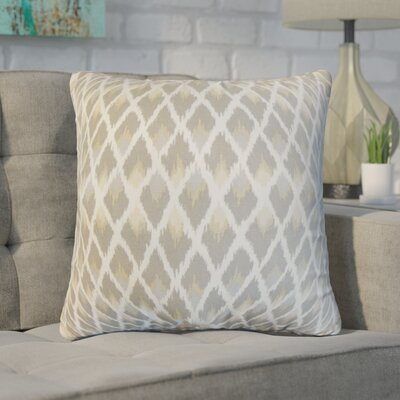 Zeta Ikat Cotton Throw Pillow Color: Pewter