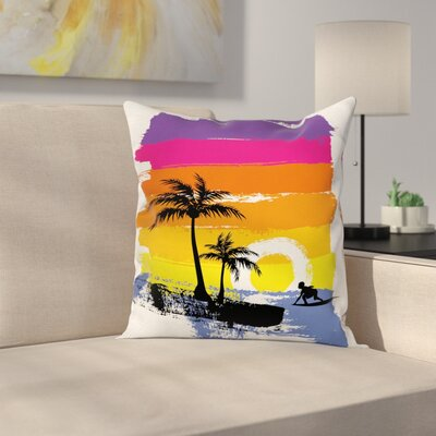 Tropical Beach Square Cushion Pillow Cover Size: 16 x 16