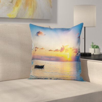 Boat on the Sea Pillow Cover Size: 18 x 18