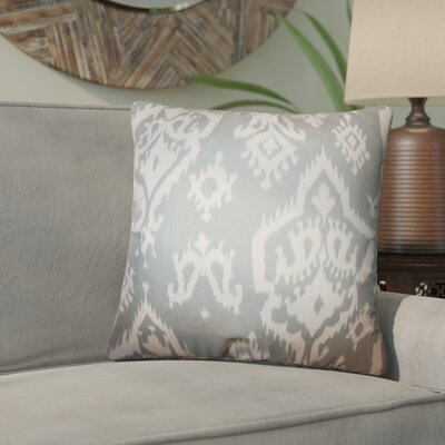 Taha Ikat Cotton Throw Pillow Color: Gray