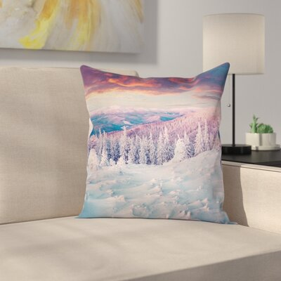 Sunrise at Wintertime Square Pillow Cover Size: 18 x 18