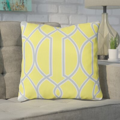 Georgios Intersecting Lines Throw Pillow Size: 18 H x 18 W x 4 D, Color: Chartreuse Yellow / Foggy Blue / White, Filler: Down