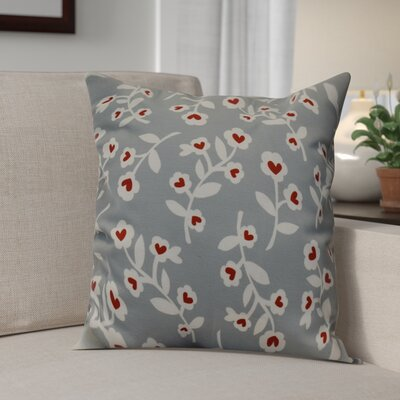 Valentines Floral Indoor/Outdoor Throw Pillow Size: 20 H x 20 W, Color: Gray