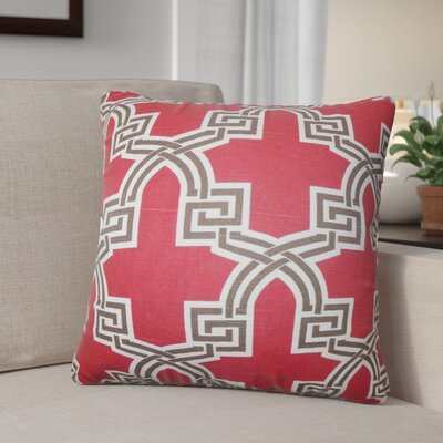 Danniel Geometric Cotton Throw Pillow Color: Red
