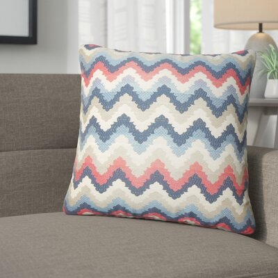 Zariyah Zigzag Throw Pillow Color: Blue/Red