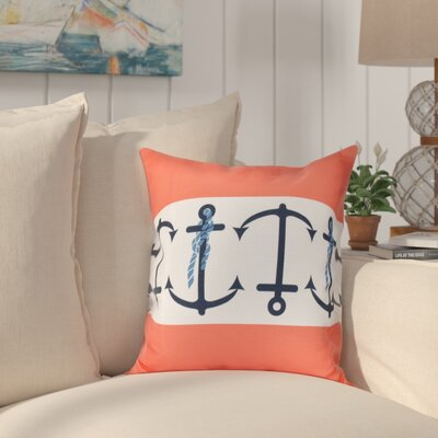 Hancock Anchor Stripe Print Throw Pillow Size: 16 H x 16 W, Color: Orange