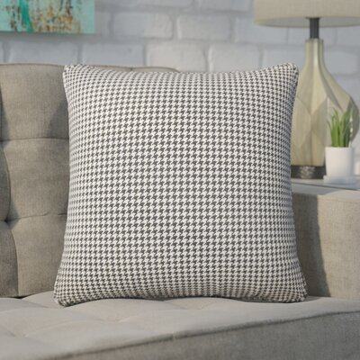 Wofford Houndstooth Cotton Throw Pillow Color: Black/White