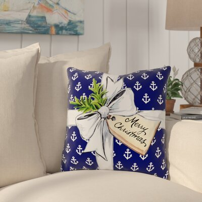 Chatsworth Anchor Bow Throw Pillow Size: 16 x 16