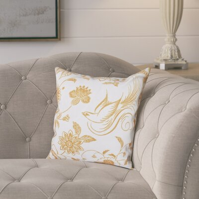 Cecilia Traditional Bird Throw Pillow Size: 26 H x 26 W, Color: Gold