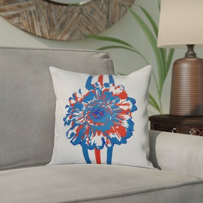 Willa Flower Child Throw Pillow Size: 18 H x 18 W, Color: Blue/Coral