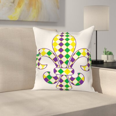 Mardi Gras Ancient Lily Vintage Square Cushion Pillow Cover Size: 16 x 16