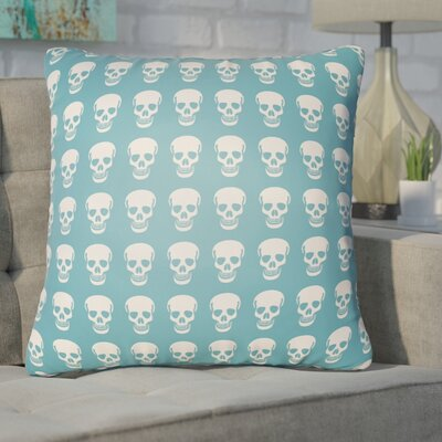 Calindra Skulls Throw Pillow Size: 18 H x 18 W x 4 D, Color: Turquoise