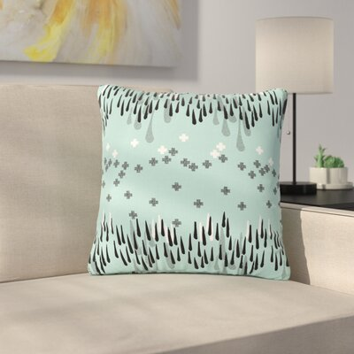 Zara Martina Mansen A Drop of Memphis Outdoor Throw Pillow Color: Aqua/Gray, Size: 16 H x 16 W x 5 D