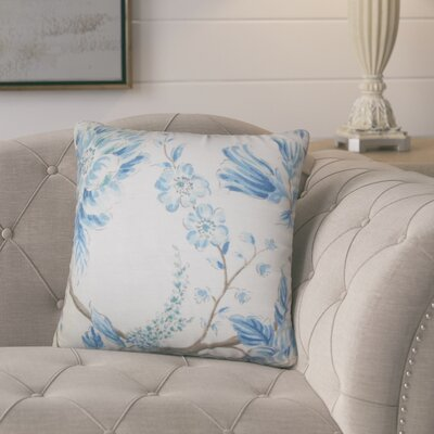 Politte Floral Linen Throw Pillow Color: Blue