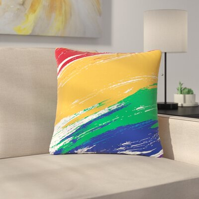 NL designs Rainbow Paint Illustration Outdoor Throw Pillow Size: 16 H x 16 W x 5 D