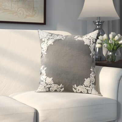 Harper Cotton Throw Pillow Color: Gray