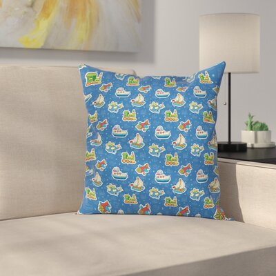 Cute Toys Pattern Artwork Square Pillow Cover Size: 24 x 24