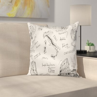 Roman Period Icons Square Cushion Pillow Cover Size: 16 x 16