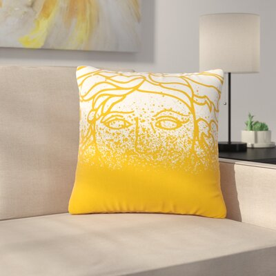 Just L Versus Spray Digital Outdoor Throw Pillow Color: Gold, Size: 18 H x 18 W x 5 D