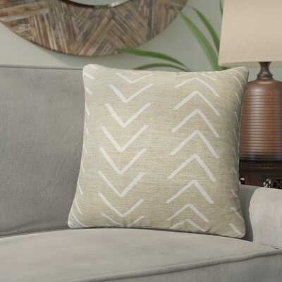 Bemelle Mud Cloth Throw Pillow with Double Sided Print Size: 16 H x 16 W, Color: Taupe/ Ivory