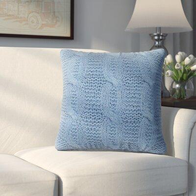Broadway Village Cable Knit Cotton Throw Pillow Color: Blue