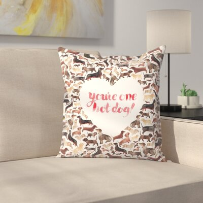 Elena ONeill Youre One Hot Dog Throw Pillow Size: 14 x 14