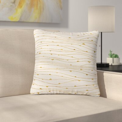 888 Design Golden Stripes Pattern AbstractOutdoor Throw Pillow Size: 18 H x 18 W x 5 D