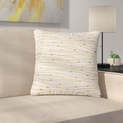 888 Design Golden Stripes Pattern AbstractOutdoor Throw Pillow Size: 16 H x 16 W x 5 D