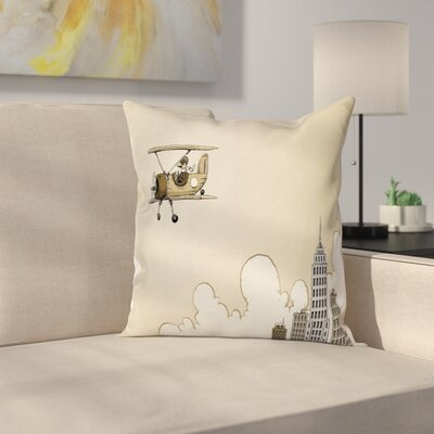 Vintage Airplane Cartoon Plane Square Pillow Cover Size: 18 x 18