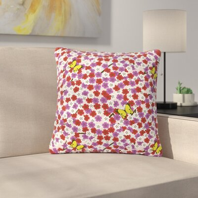 Setsu Egawa Cherry Blossom and Butterfly Outdoor Throw Pillow Size: 18 H x 18 W x 5 D