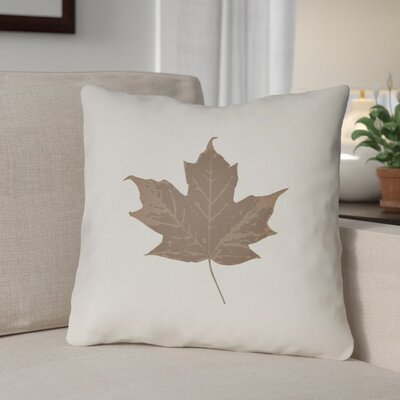 Maple Leaf Indoor/Outdoor Pillow Size: 18 H x 18 W x 4 D, Color: White/Brown