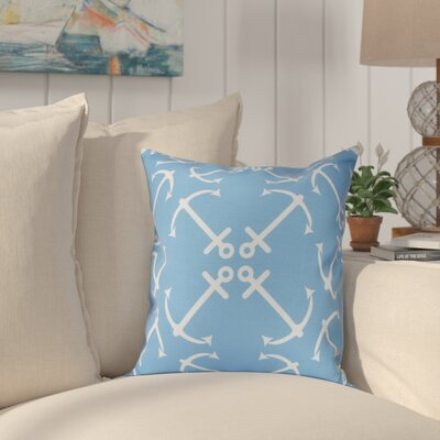 Hancock Anchors Up Geometric Print Outdoor Throw Pillow Size: 18 H x 18 W, Color: Mid Blue