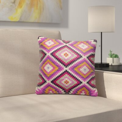 Sulien Indoor/Outdoor Throw Pillow Size: 16 H x 16 W x 5 D, Color: Purple/ Pink/ Orange