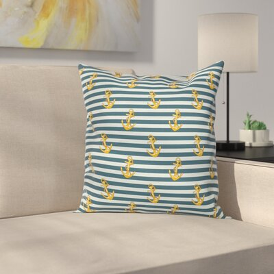 Stripe Vintage Anchors Square Cushion Pillow Cover Size: 16 x 16