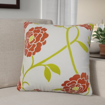 Ashton Ridge Floral Cotton Throw Pillow Color: Geranium, Size: 22 x 22