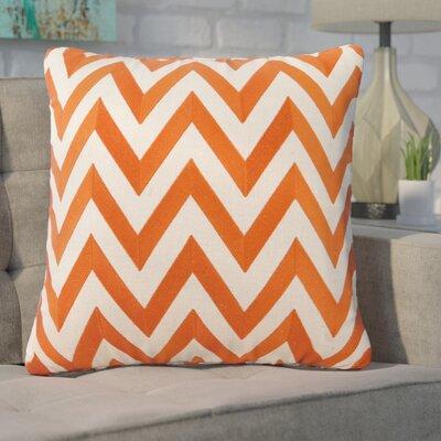 Kessler Embroidered Zig Zag Linen Throw Pillow Color: Orange